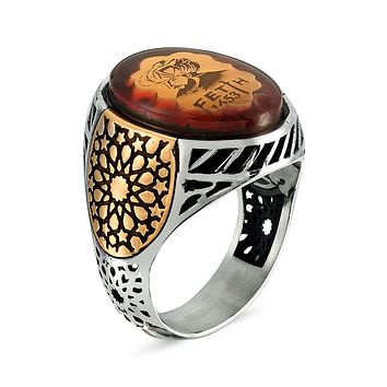 Mens 925 sterling silver ring with ottoman sultan mehmed the conqueror 1453 and amber gemstone