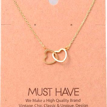 Must Have-Double Heart Necklace, Gold