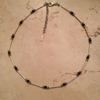 Vintage Napier Necklace Silver Black Bead Costume Jewelry