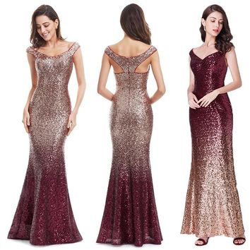 Evening Dress Long Sparkle 2018 New V-Neck Women Elegant EB29998 Sequin Mermaid Maxi Evening Party Gown Dress abendkleider 2018
