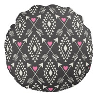 Tribal Aztec with Hearts & Arrows Round Pillow