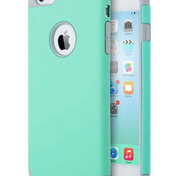Iphone 6s Case Mint Greeniphone 6 Case Ulak Slim Dual Layer Soft Silicone & Hard Back Cover Bumper Protective Shock Absorption & Skid Proof Anti Scratch Hybrid Case Turquoise/grey
