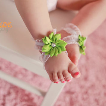 Green Barefoot Baby Sandals, Barefoot Sandals, Barefoot Baby Sandals, Bottomless Baby Sandals, Baby Girl Sandals, Barefoot Baby Sandals