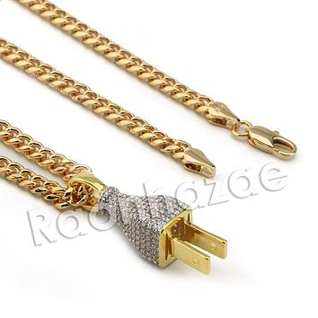 Lab diamond Micro Pave Gold PT Electric Plug Pendant w/ Miami Cuban Chain B24G