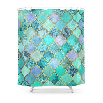 Society6 Cool Jade & Icy Mint Decorative Moroccan Tile Pattern Shower Curtains
