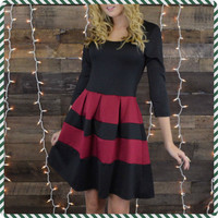 Paint The Town Red Striped A-Line Dress