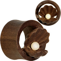 """5/8"""" Organic Sabo Wood Mother of Pearl Hand Carved Plug Set 
