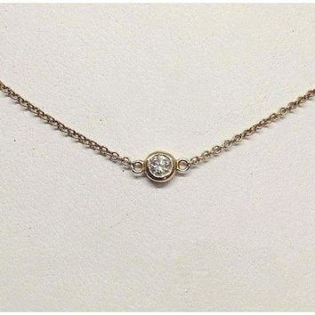 Luxinelle Bezel Diamond on a Italian Gold Chain - VS2 F - 14K White, Yellow or Rose Pink Gold Minimalist Solitaire Necklace