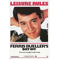 Ferris Bueller's Day Off Leisure Rules Poster 24x36