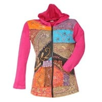 FOLK ART HAND-EMBROIDERED COTTON PATCH HOODIE SWEATSHIRT:Amazon:Clothing