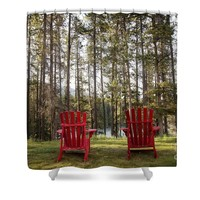 Two red chairs Shower Curtain for Sale by Ivy Ho