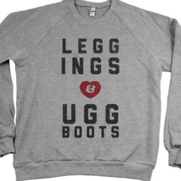 Leggings and Ugg Boots-Unisex Heather Grey Sweatshirt