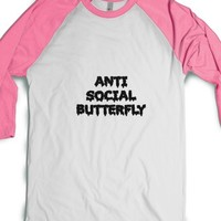 Anti Social Butterfly (Drippy)-White/Neon Heather Pink T-Shirt