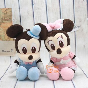 1pc New Lovely 30/40cm Mickey Minnie With formal Dress Bow tie Plush Toy Soft Stuffed Mouse Cute Animal Kids Baby Friends Gifts