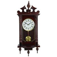 """Bedford Clock Collection Classic 31"""" Chiming Wall Clock With Roman Numerals And A Swinging Pendulum in a Cherry Oak Finish"""