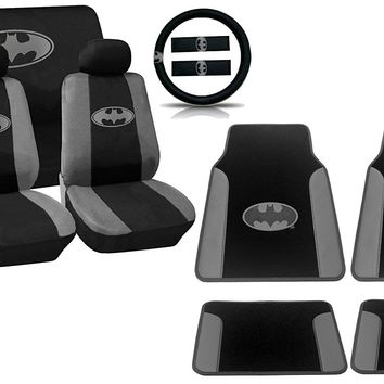 Gotham City Gray Silver Batman Logo on Black Car Seat Covers & Plush Carpet Leather Trim Floor Mats Marvel Comics Auto Interior Kit - 15pc Seat Covers Steering Wheel Shoulder Pads