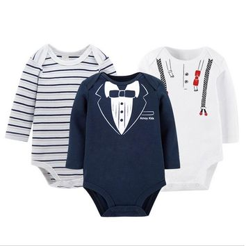 3pcs/set Baby Boys Girls Long Sleeve Rompers 100% Cotton 2017 Newborn Infant's Clothes Toddler Costume Jumpsuit KF110
