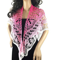 Outlander Pink Ombre Lace Shawl - Raspberry Pink Crocheted Fraser Gabaldon FREE SHIPPING