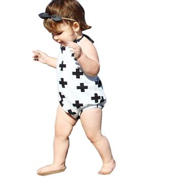 Newborn Romper Cute Baby Infant Girls Halter straps Belt Clothes Romper Sleeveless Jumpsuit Sets Outfits with Printed 1PCS