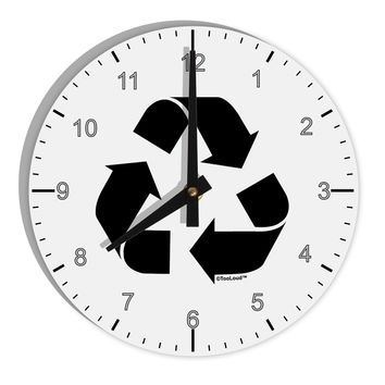 "Recycle Black and White 8"" Round Wall Clock with Numbers by TooLoud"