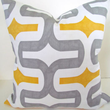 Exclusive .THROW PILLOW COVER 16x16 Grey Decorative Throw Pillows 16 x 16 Yellow Geometric Gray Pillow covers Home Decor