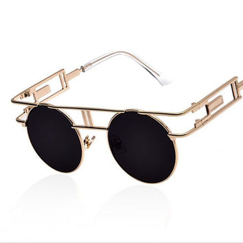 2016  Metal Frame Steampunk Sunglasses Women Brand Designer Unique Men Gothic Sun glasses Vintage Oculos De Sol Feminino 8 Color