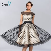 Dressv Knee-length Cocktail Dresses 2017 Polk Dot Pattern Dresses to Party Homecoming Dresses Sheer Boat Neck Graduation Dresses