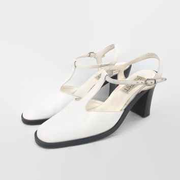 90s Esprit White Leather Mary Jane Heels T Strap Minimalist Ankle Strap Chunky Heels (7)