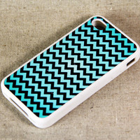 Teal And Black Chevron iPhone 4 iPhone 4S Case, Rubber Material Full Protection