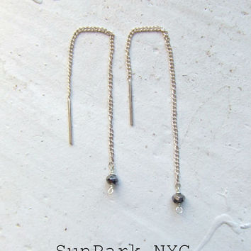 Delicate Sterling Silver Ear Thread with Pyrite Earrings/Silver Earrings/Gemstone Earrings/Thread Earring