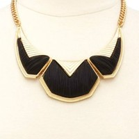 Matte Brushed Geometric Collar Necklace by Charlotte Russe - Gold
