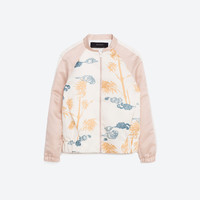 PRINTED SATEEN BOMBER JACKET