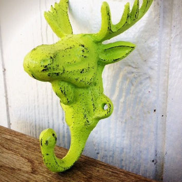 VIBRANT SUMMER LIME GREEN MOOSE WALL HOOK – FUNKY SHABBY CHIC CABIN DECOR - *FREE SHIPPING*