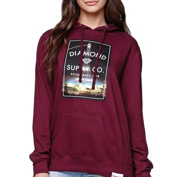 Diamond Supply Co Paris Pullover Hoodie - Womens Hoodie - Red