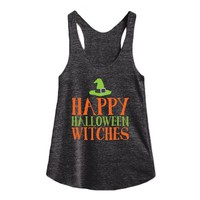 Happy Halloween Witches-Female Athletic Tri Black Tank