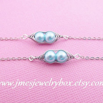 Two peas in a pod best friend bracelet set - Sky blue