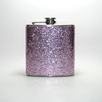 PInk Superrrrr Sparkly Glitter 4, 6 or 8 oz Size Stainless Steel Liquor Hip Flask Flasks Weddings Bridesmaids Gift Idea