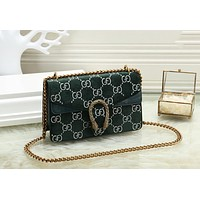 GUCCI Newest Fashionable Women Shopping Bag Velvet Leather Crossbody Satchel Shoulder Bag Green