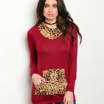 Cheetah Print Hoodie Top with Elbow Patches
