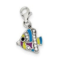 Multi-colored Enameled Fish Charm in Sterling Silver
