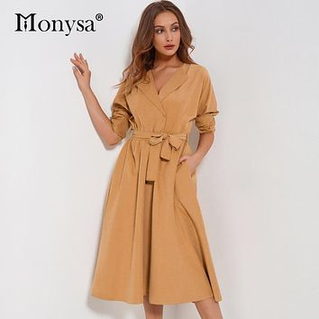 Suede Women Dress Autumn 2018 New Fashion V Neck Long Sleeve Dress Women Casual Blue Green Khaki Pleated Midi Dress With Belt