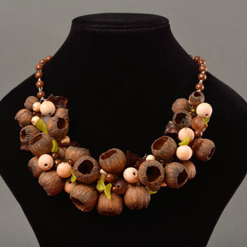Handmade designer necklace with polymer clay and plastic beads in autumn colors