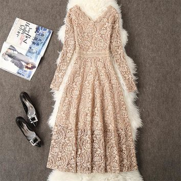 2019 Autumn Women Long Sleeve Lace Dress Big Size M-3XL Dress Elegant Lady Long V-neck Dressess Vestidos Winter Bottomings WZ564