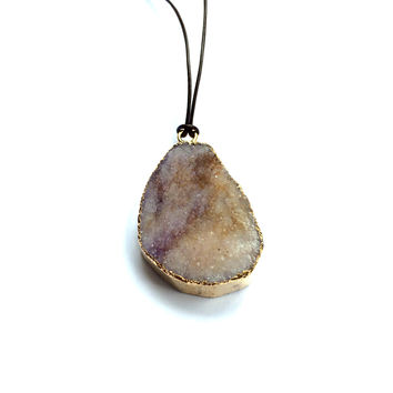 Druzy Leather Necklace
