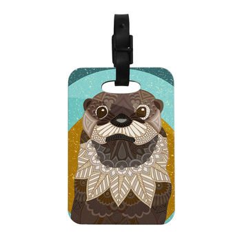 """Art Love Passion """"Otter in Water"""" Blue Brown Decorative Luggage Tag"""