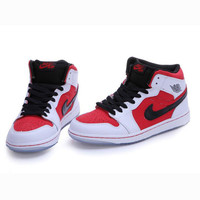 Nike Air Jordan Retro 1 High Tops Contrast Sports shoes Red Black hook G-CSXY