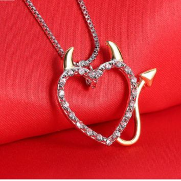 Gold and Silver Plated Crystal Devil Heart Necklace