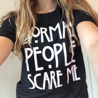 2016 Casual Tops T-Shirt Normal People Scare Me letter Print Harajuku Women T Shirt Tumblr Short Sleeve O-neck Tee Shirt femme