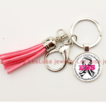 Hot sale DIY jewelry Ehlers Danlos Type Medical Alert picture glass dome charm key chain tassel keychain silver keyring