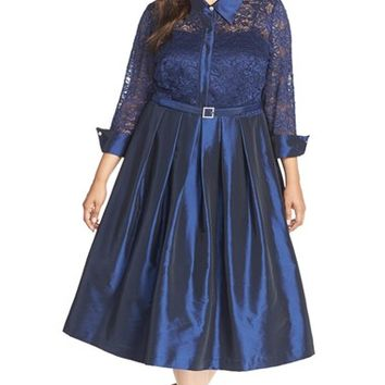 Plus Size Women's Eliza J Lace & Taffeta Point Collar Fit & Flare Dress,